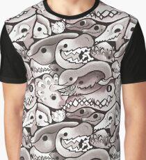 Dinosaur Pattern in Grey Graphic T-Shirt