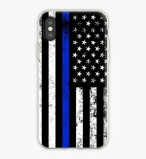 Police Styled Distressed Vertical American Flag  iPhone Case