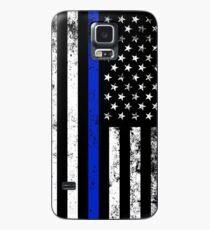 Funda/vinilo para Samsung Galaxy La policía diseñó la bandera americana vertical apenada