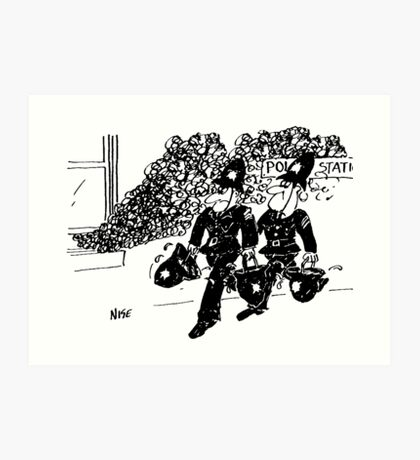 Fire at the Police Station Art Print