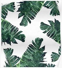 Banana Leaf #Watercolor Pattern #redbubble Poster