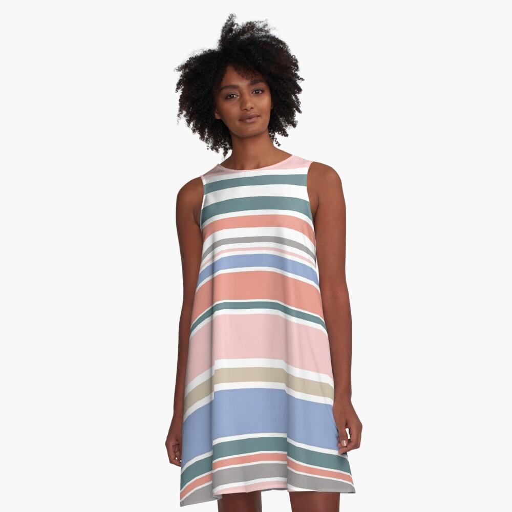 Trendy Rose Quartz Pink Colorful Stripes A-Line Dress Front