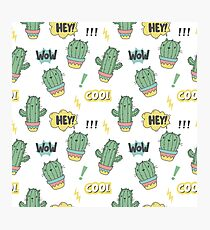 Cool print with cactus cat. Pop art style Photographic Print