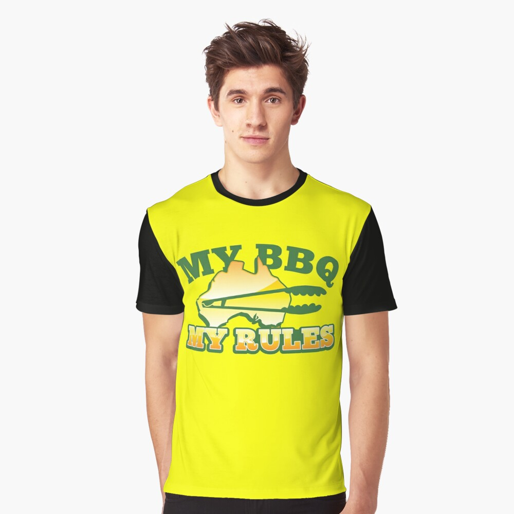MY BBQ (barbecue) MY RULES Aussie Australian flag and tongs Graphic T-Shirt Front