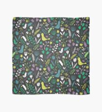 Paper-cut meadow - teal, lemon and green on charcoal Scarf