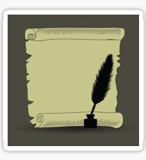 old paper and feather isolated on dark background Sticker