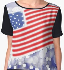 American Flag Waving on Blue Blurred Background Chiffon Top