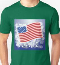 American Flag Waving on Blue Blurred Background Unisex T-Shirt