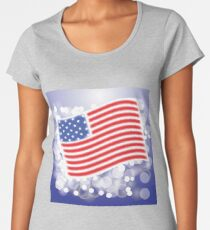 American Flag Waving on Blue Blurred Background Women's Premium T-Shirt