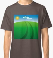 Auto Tire Prints on Summer Landscape with Sun and Blue Sky Classic T-Shirt