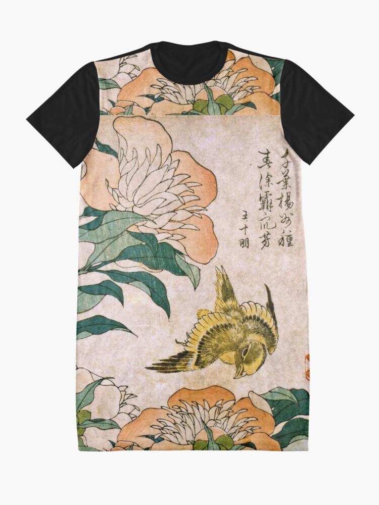 Vista alternativa de Vestido camiseta Hokusai Katsushika - Peonía y Canarias