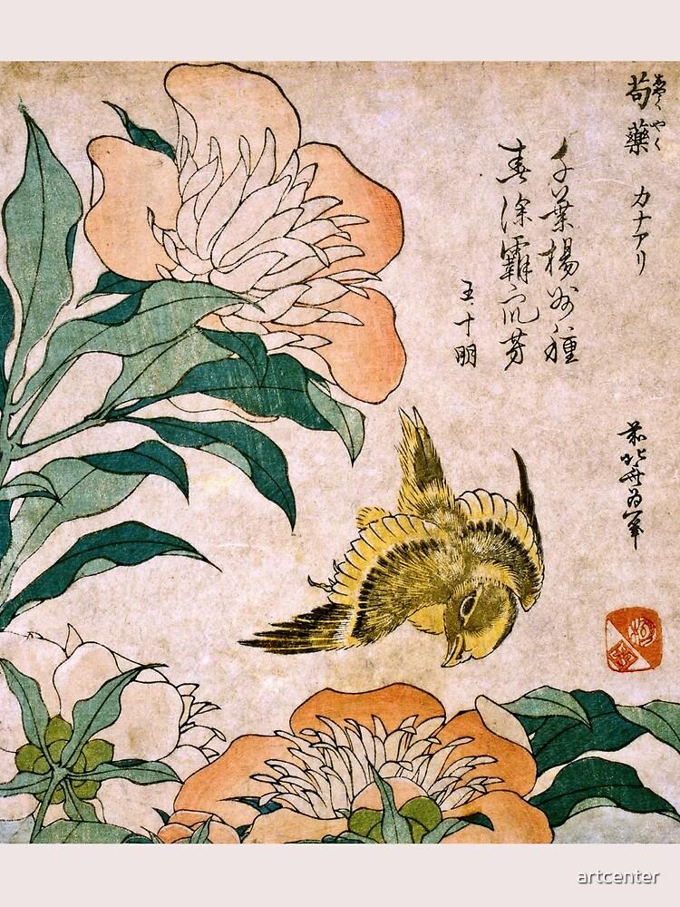 Hokusai Katsushika - Peonía y Canarias de artcenter