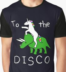 To The Disco (white text) Unicorn Riding Triceratops Graphic T-Shirt
