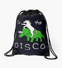 To The Disco (white text) Unicorn Riding Triceratops Drawstring Bag