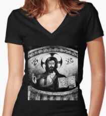 CHRIST PANTOCRATOR  Women's Fitted V-Neck T-Shirt
