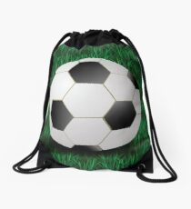 football on a grass background Drawstring Bag
