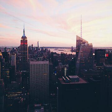 Paisaje urbano de la ciudad de Nueva York #tapestry #redbubble de cadinera