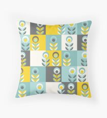 Scandinavian flowers 02, yellow-gray-teal, retro pattern Throw Pillow