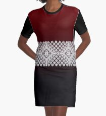 Red Black and White Latvian Lielvarde Belt motif Graphic T-Shirt Dress