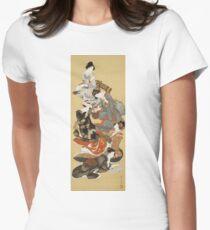 Hokusai Katsushika - Five Beautiful Women Women's Fitted T-Shirt