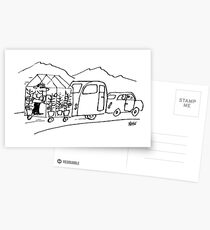 Caravan is Being Towed with a Greenhouse Postcards