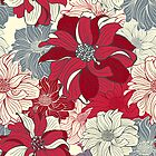 Hand-drawn dark-red flowers of dahlia by Slanapotam
