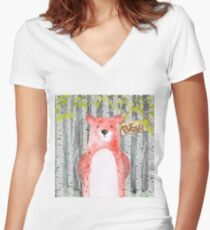 Bear- Woodland Friends- Watercolor Illustration Women's Fitted V-Neck T-Shirt