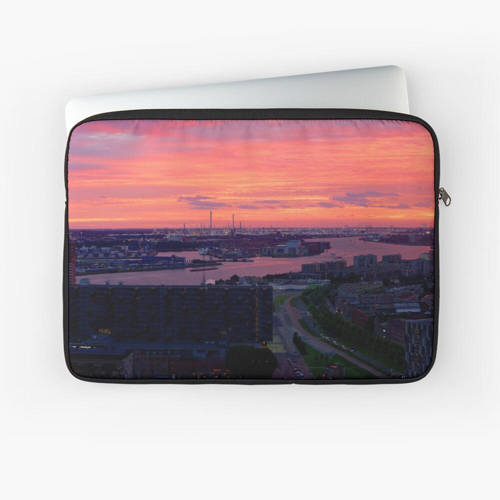 Sunset on River Nieuwe Maas, Rotterdam, (from Euromast) Laptop Sleeve