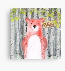 Bear- Woodland Friends- Watercolor Illustration Canvas Print
