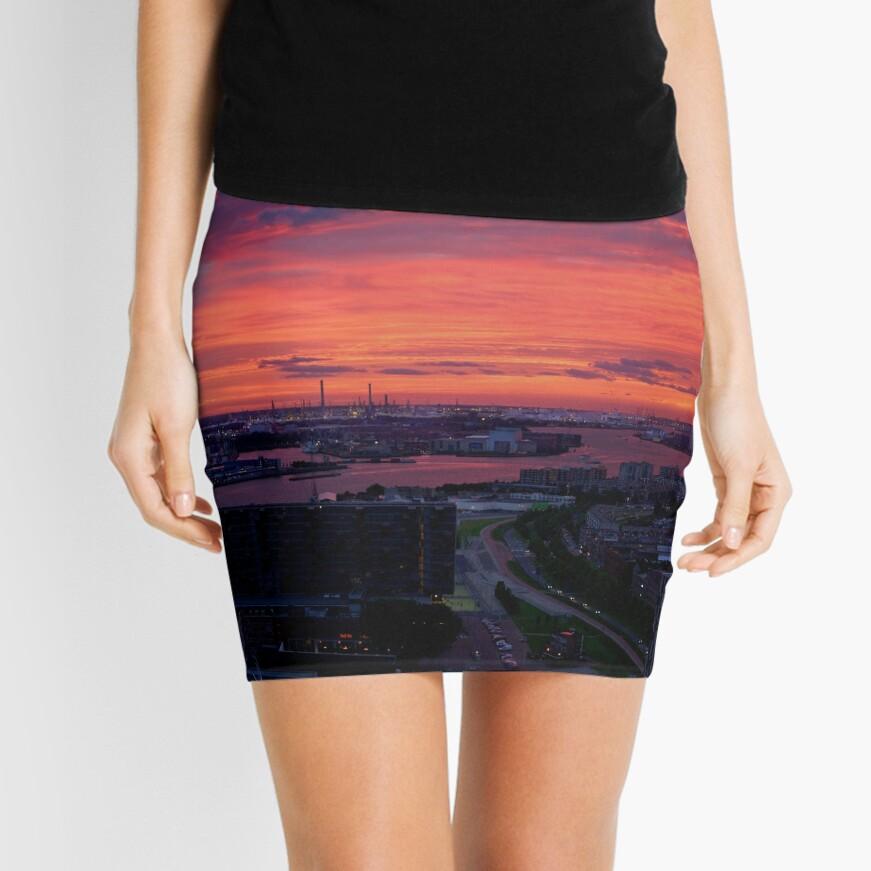 Sunset on River Nieuwe Maas, Rotterdam, (from Euromast) Mini Skirt