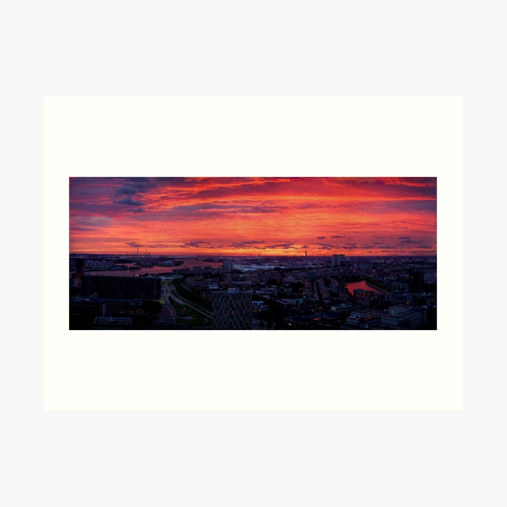 Sunset on River Nieuwe Maas, Rotterdam, (from Euromast) Art Print