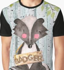 Badger- Woodland Friends- Watercolor Illustration Graphic T-Shirt
