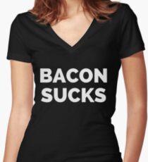 BACON SUCKS Women's Fitted V-Neck T-Shirt