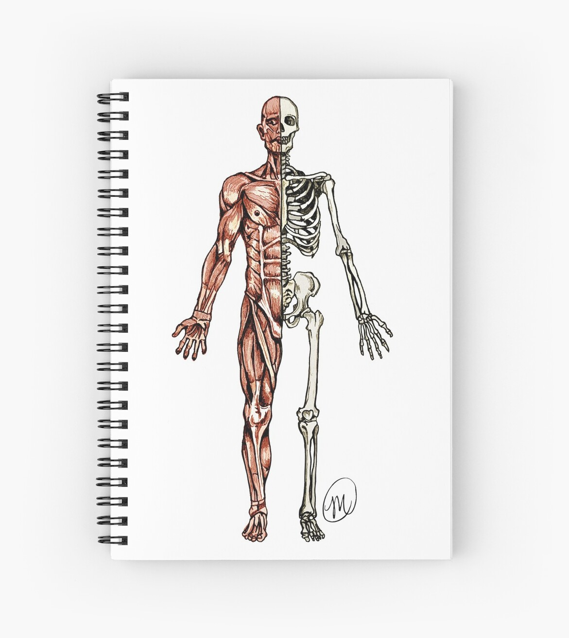 Half Muscle Half Skeleton Spiral Notebooks By Mvanhyll Redbubble