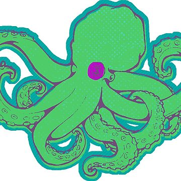 Octopus Green on Teal by z0mbieparade