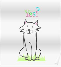 Seated dog with a question Poster