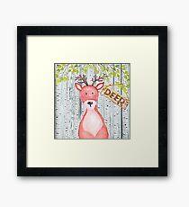 Deer- Woodland Friends- Watercolor Illustration Framed Print