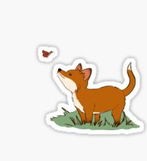 Fox puppy and butterfly Sticker