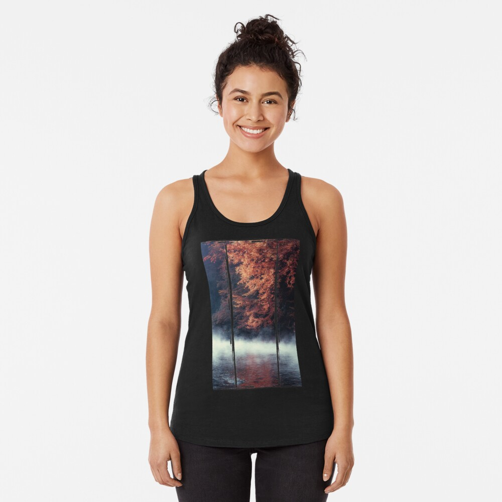 Nature*s Mirror - Fall at the River Racerback Tank Top