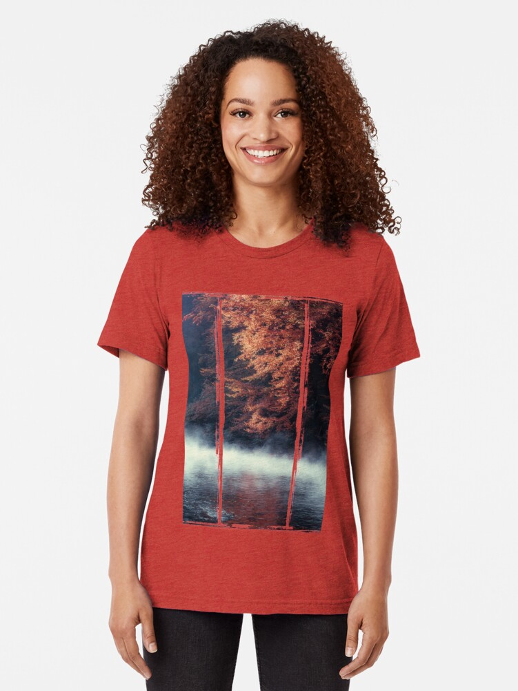Alternate view of Nature*s Mirror - Fall at the River Tri-blend T-Shirt