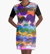 Abstract waves sunset watercolor painting - Colorful tidal Graphic T-Shirt Dress