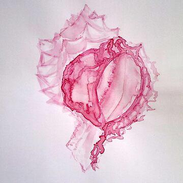Pink Shell Beach Boho Summer Print - Beetroot juice watercolors, ink, ocean, sea life, bay, harbor, beach, modern decor, coastal, watercolor, black white, mermaid, pearl  by arteivanna