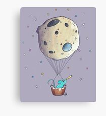 Blue Mouse with Space Asteroid Canvas Print