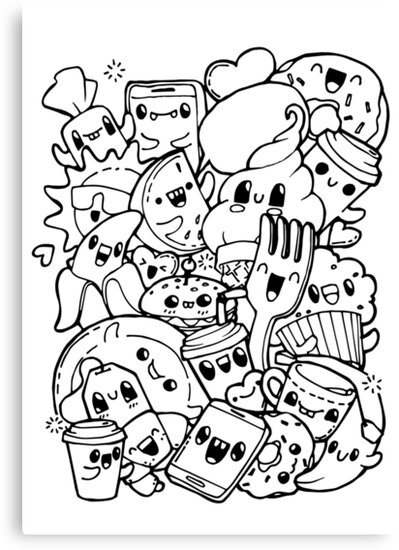 """Food doodles"" Canvas Print by vasilixa 