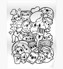 Food Doodles Posters Redbubble