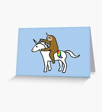Slothicorn Riding Unicorn Greeting Card