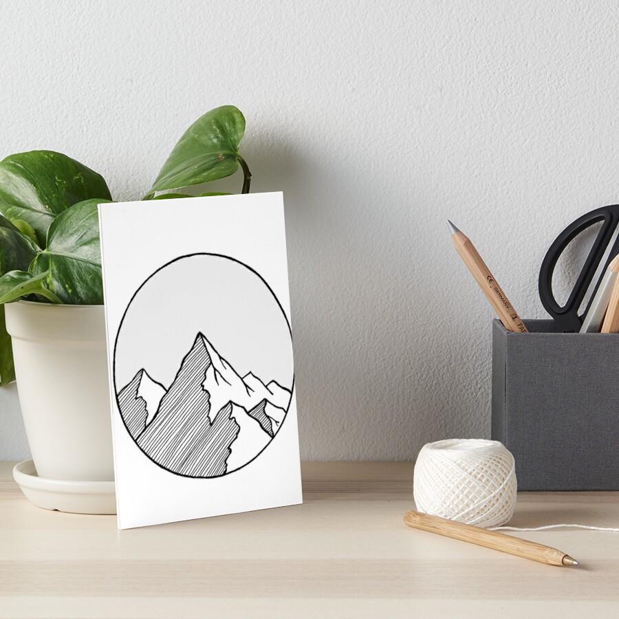Mountains Sketch Art Board Print
