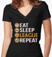 League Of Legends Eat Sleep League Repeat Funny Gifts Women's Fitted V-Neck T-Shirt