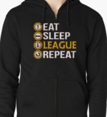 League Of Legends Eat Sleep League Repeat Funny Gifts Zipped Hoodie