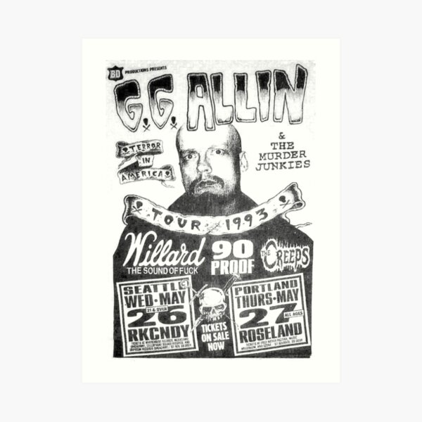 GG Allin Tour Shirt Art Print